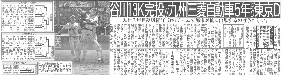 170609 スポーツニッポン 「九州三菱自動車5年ぶり東京D」」